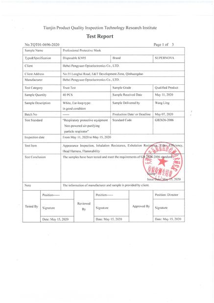 Chine Hebei Pengyuan Optoelectronic Co.,Ltd Certifications